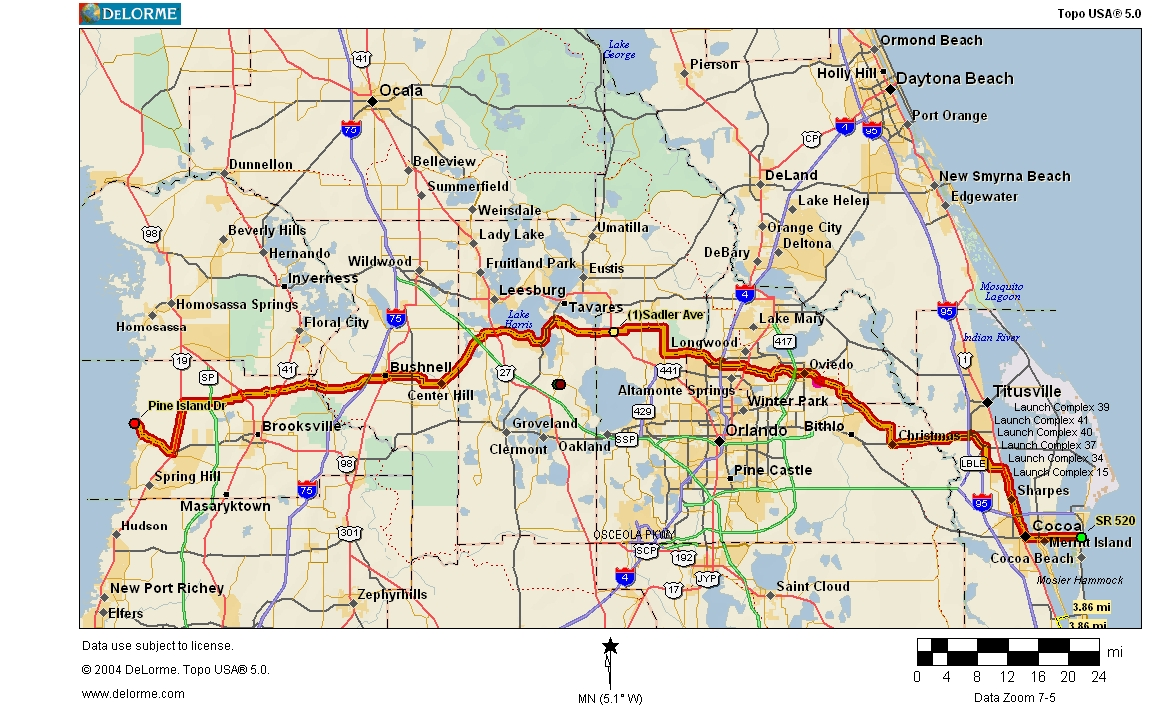 Cycling Routes Crossing Florida - Us bike route 1 map