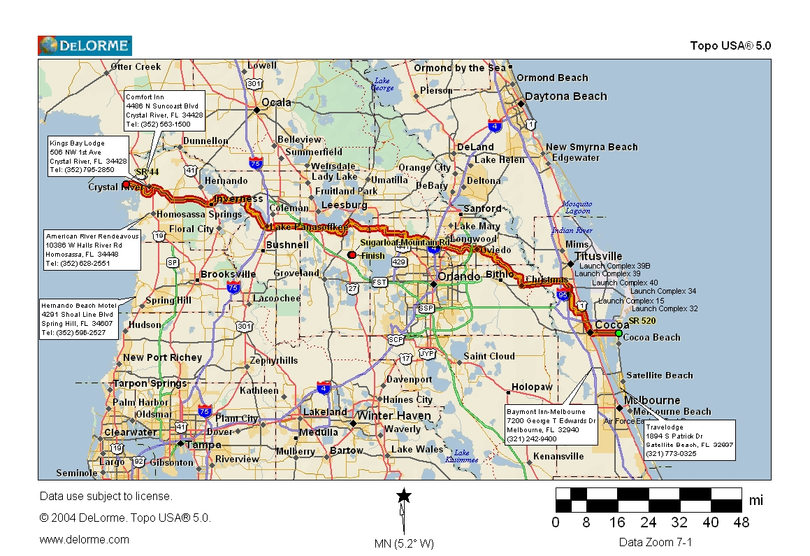 Map Of Northern Florida.Cycling Routes Crossing Florida