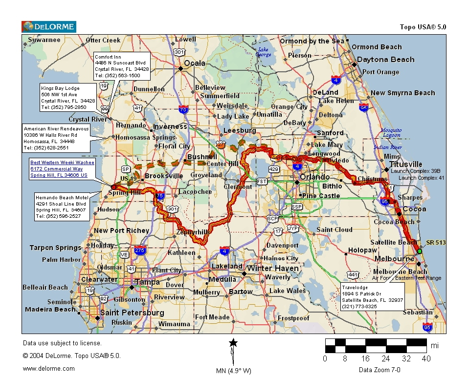Cycling routes crossing florida map 592 kb outbound leg is highlighted return leg is dashed publicscrutiny Choice Image